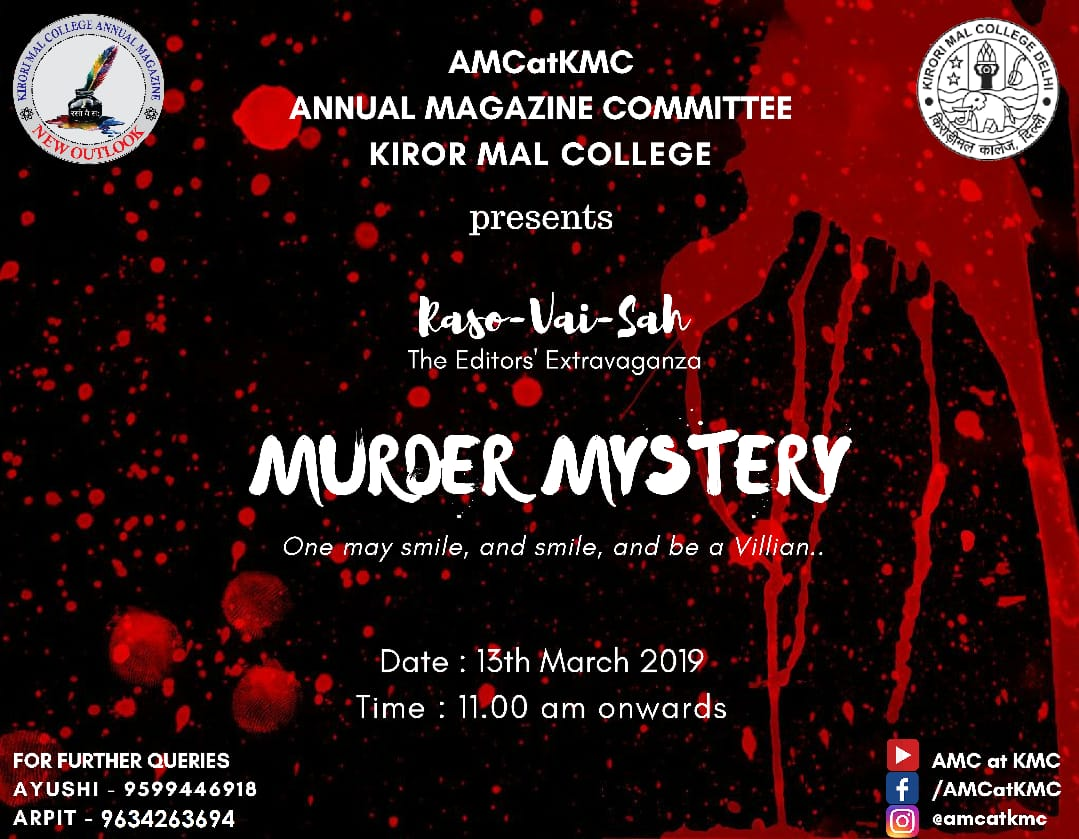 Murder Mystery Competition by Annual Magazine Committee at Kirori Mal College