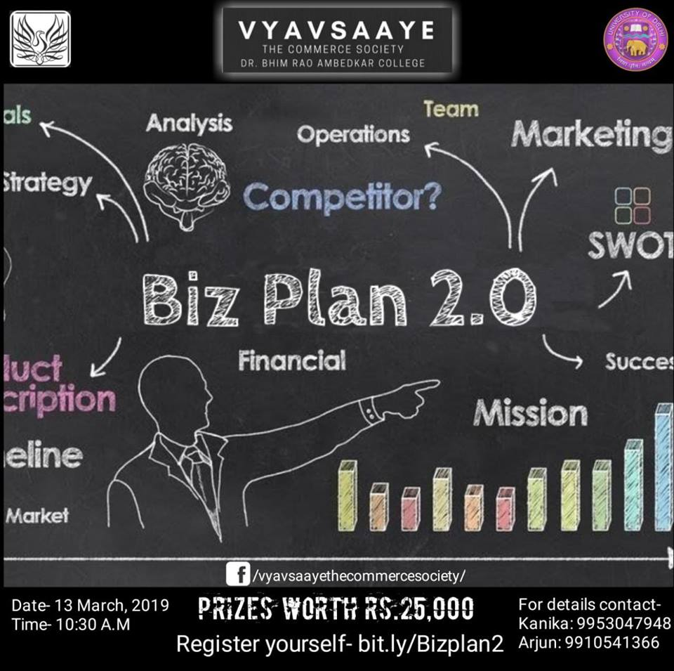 Business Plan Competition to showcase your business skills at Commcoterie 2019 by vyavsaaye, Bhim Rao Ambedkar College, Delhi University