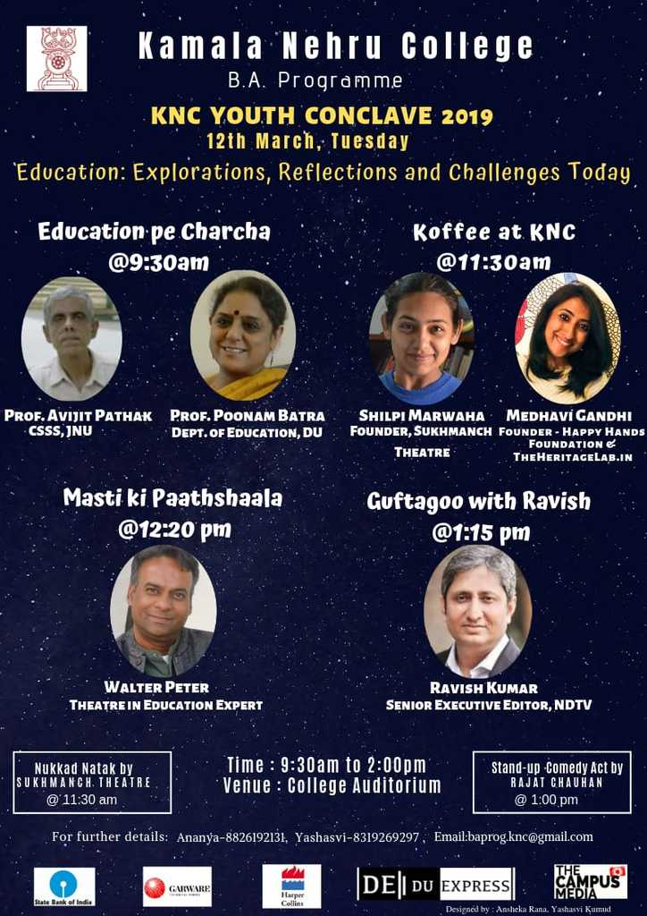 Eminent speakers of KNC youth Conclave 2019, organized by Kamara Nehru College