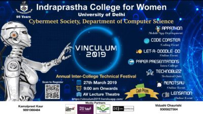 Indraprastha College For Women is ready celebrate Vinculum 2019 with lots of events.